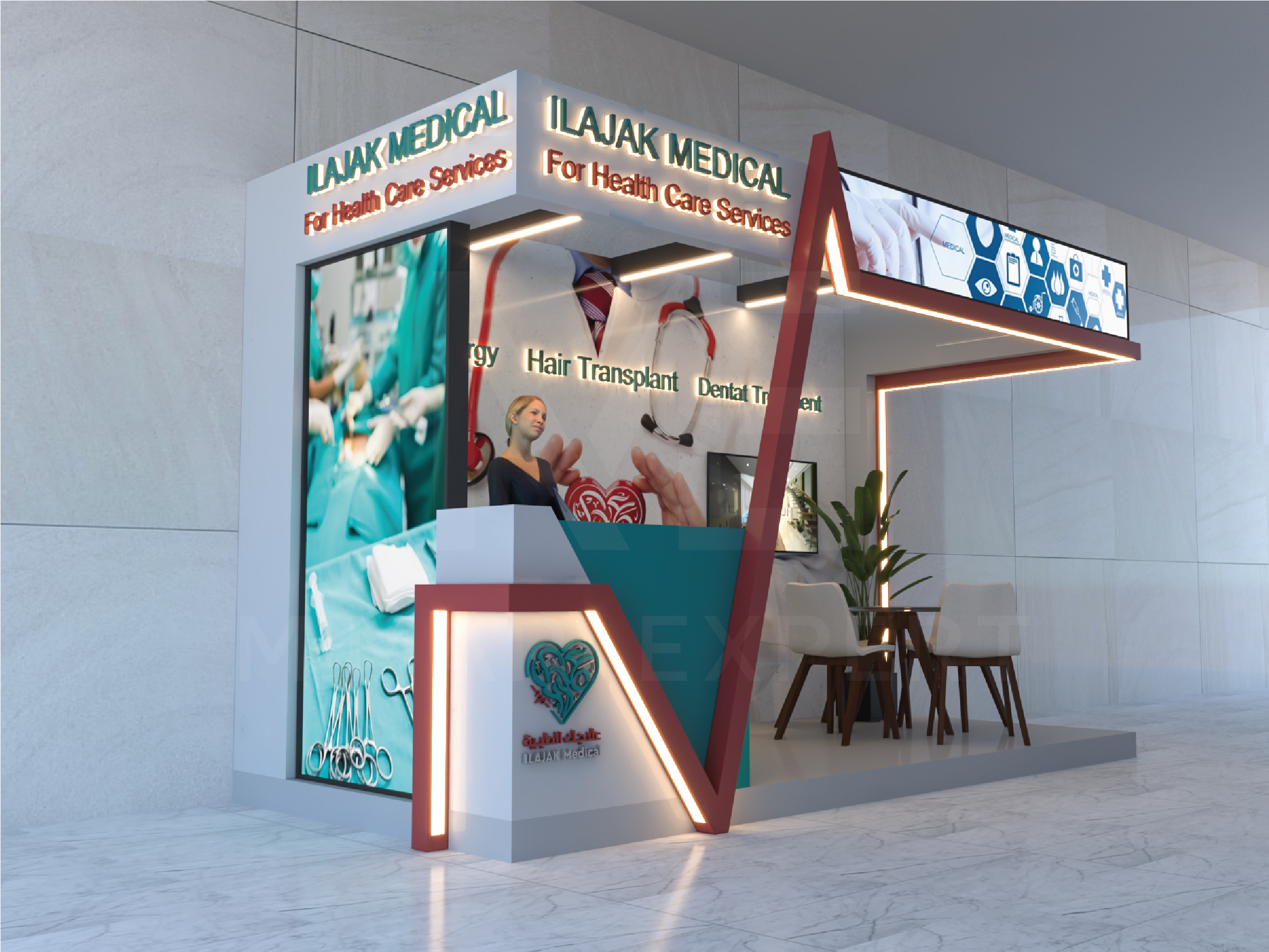 A stand for Ilajak Medical Company